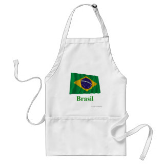 Brazil Waving Flag with Name in Portuguese Apron