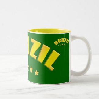 Brazil yellow and green large mug