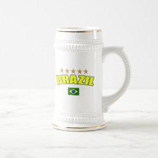 Brazil yellow Logo 5 stars soccer futebol gifts Beer Stein