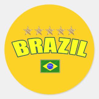 Brazil yellow Logo 5 stars soccer futebol gifts Classic Round Sticker