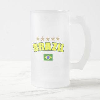 Brazil yellow Logo 5 stars soccer futebol gifts Frosted Glass Beer Mug