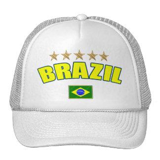 Brazil yellow Logo 5 stars soccer futebol gifts Trucker Hat