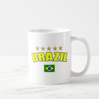 Brazil yellow Logo 5 stars soccer futebol gifts Mugs