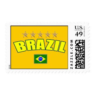 Brazil yellow Logo 5 stars soccer futebol gifts Postage