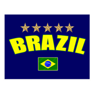 Brazil yellow Logo 5 stars soccer futebol gifts Post Cards