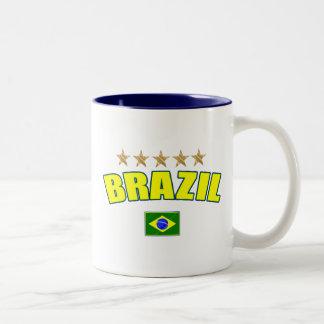 Brazil yellow Logo 5 stars soccer futebol gifts Two-Tone Coffee Mug