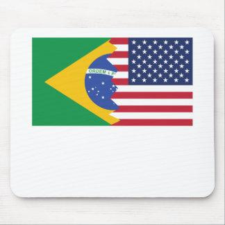 Brazilian American Flag Mouse Pad