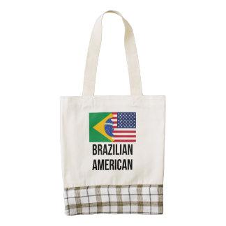 Brazilian American Flag Zazzle HEART Tote Bag