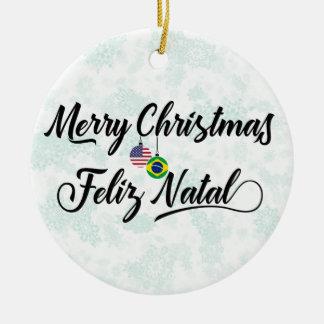 Brazilian American Holiday Decoration, Feliz Natal Ceramic Ornament