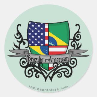 Brazilian-American Shield Flag Classic Round Sticker