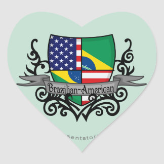Brazilian-American Shield Flag Heart Sticker