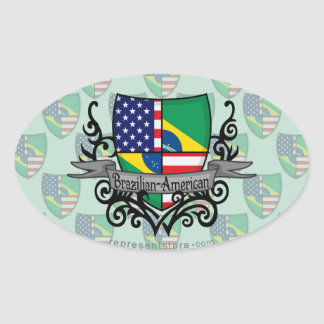 Brazilian-American Shield Flag Oval Sticker