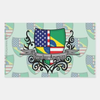 Brazilian-American Shield Flag Rectangular Sticker