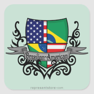 Brazilian-American Shield Flag Square Sticker