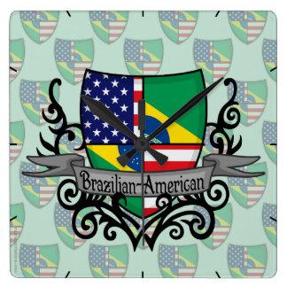 Brazilian-American Shield Flag Square Wall Clock