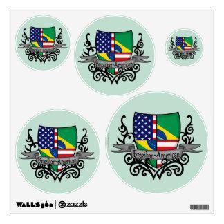 Brazilian-American Shield Flag Wall Sticker