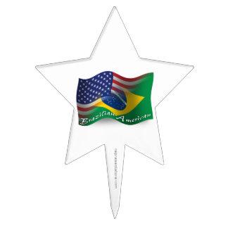Brazilian-American Waving Flag Cake Topper