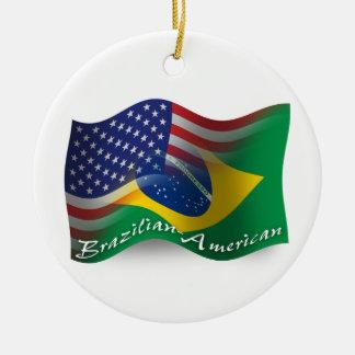 Brazilian-American Waving Flag Ceramic Ornament