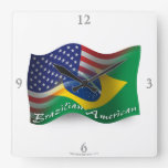 Brazilian-American Waving Flag Clock