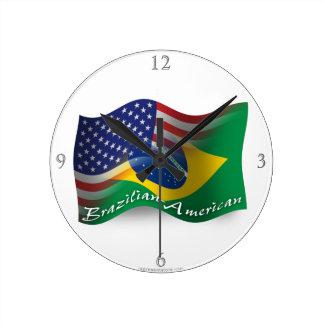 Brazilian-American Waving Flag Round Clock