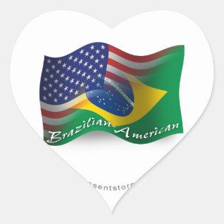 Brazilian-American Waving Flag Heart Sticker