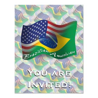 Brazilian-American Waving Flag Personalized Invites