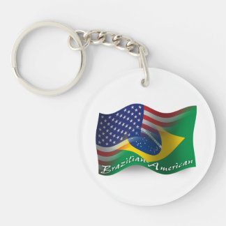 Brazilian-American Waving Flag Double-Sided Round Acrylic Keychain