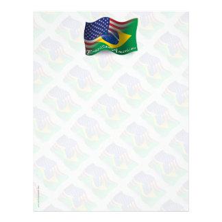 Brazilian-American Waving Flag Custom Letterhead