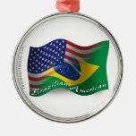 Brazilian-American Waving Flag Christmas Tree Ornament