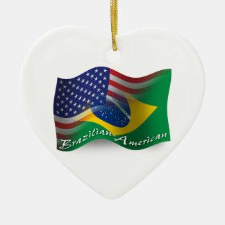 Brazilian-American Waving Flag Christmas Ornaments