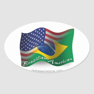 Brazilian-American Waving Flag Oval Sticker