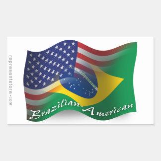 Brazilian-American Waving Flag Rectangular Sticker