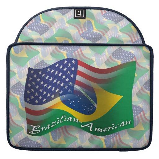 Brazilian-American Waving Flag Sleeve For MacBook Pro