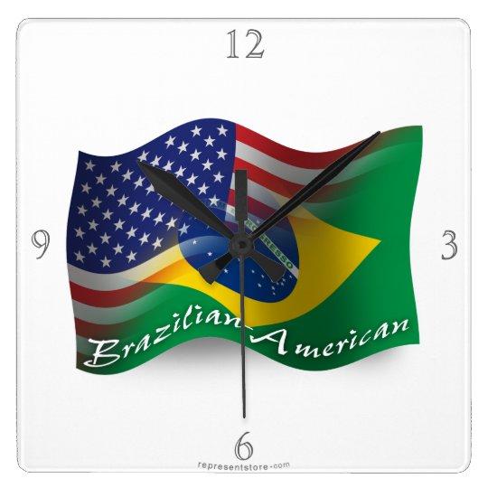 Brazilian-American Waving Flag Square Wall Clock
