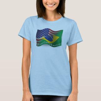 Brazilian-American Waving Flag T-Shirt