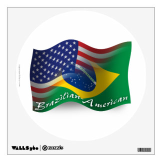 Brazilian-American Waving Flag Wall Sticker