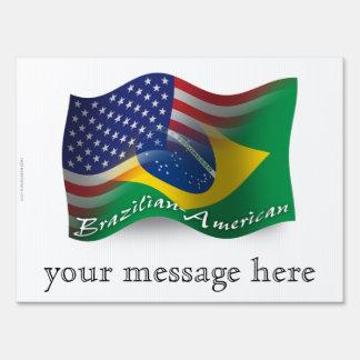Brazilian-American Waving Flag Yard Signs