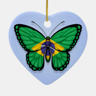 Brazilian Butterfly Flag on Blue Ceramic Ornament