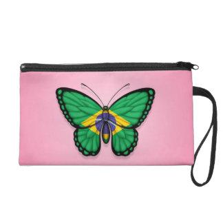 Brazilian Butterfly Flag on Pink Wristlet Purse