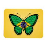 Brazilian Butterfly Flag on Yellow Flexible Magnet