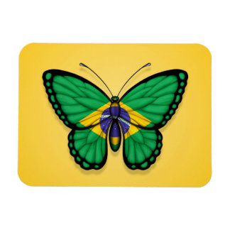 Brazilian Butterfly Flag on Yellow Magnet