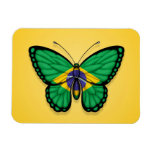Brazilian Butterfly Flag on Yellow Rectangular Photo Magnet