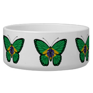 Brazilian Butterfly Flag Dog Water Bowl