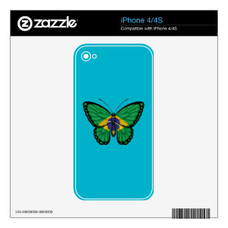 Brazilian Butterfly Flag Skin For iPhone 4