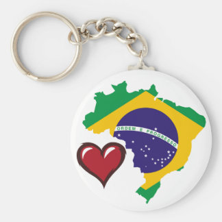 Brazilian country flag red heart basic round button keychain