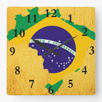 Brazilian country flag square wall clock