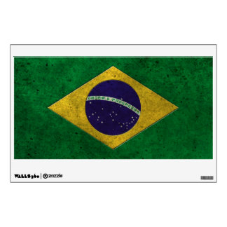 Brazilian Flag Aged Steel Effect Wall Decal