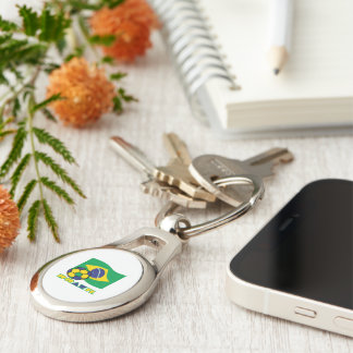 Brazilian Flag and Soccer Ball Silver-Colored Oval Metal Keychain