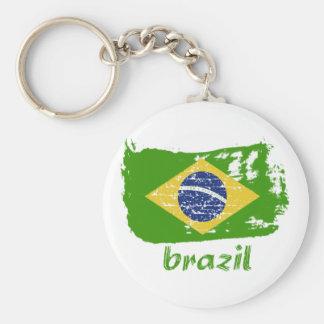 Brazilian flag designs basic round button keychain