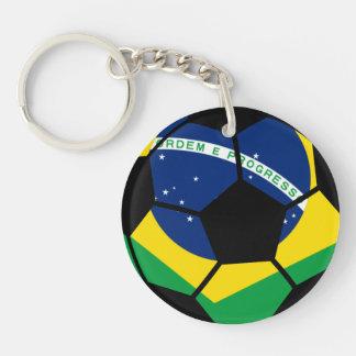 Brazilian Flag Football Double-Sided Round Acrylic Keychain